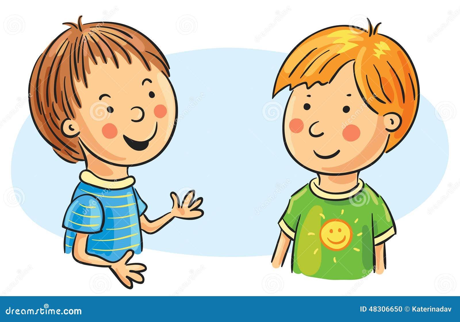 Zwei Karikatur-Jungen-Unterhaltung