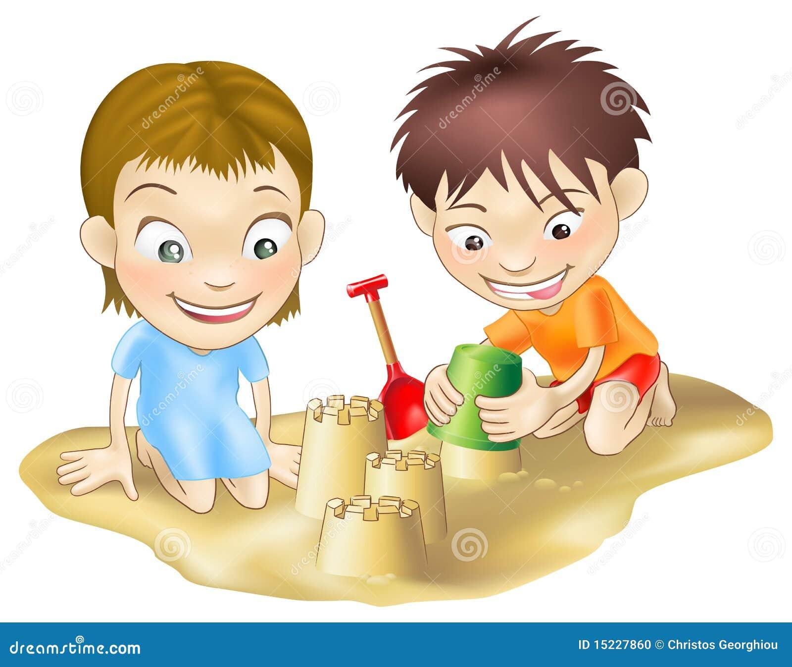 Zwei Kinder Die Im Sand Spielen Stockfoto Bild 15227860