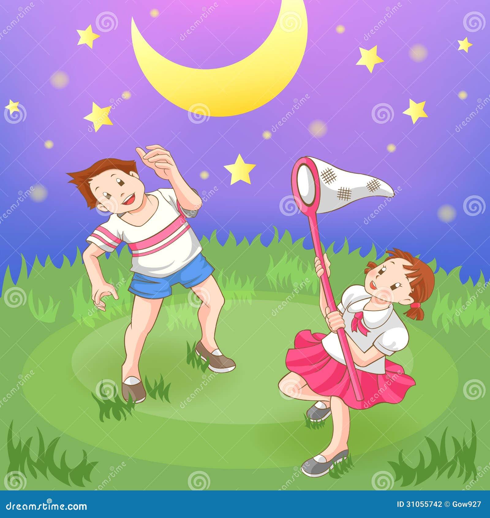 Mond Sterne Kleid: Zwei Kinder, Welche Die Sterne Fangen. Stockfotografie