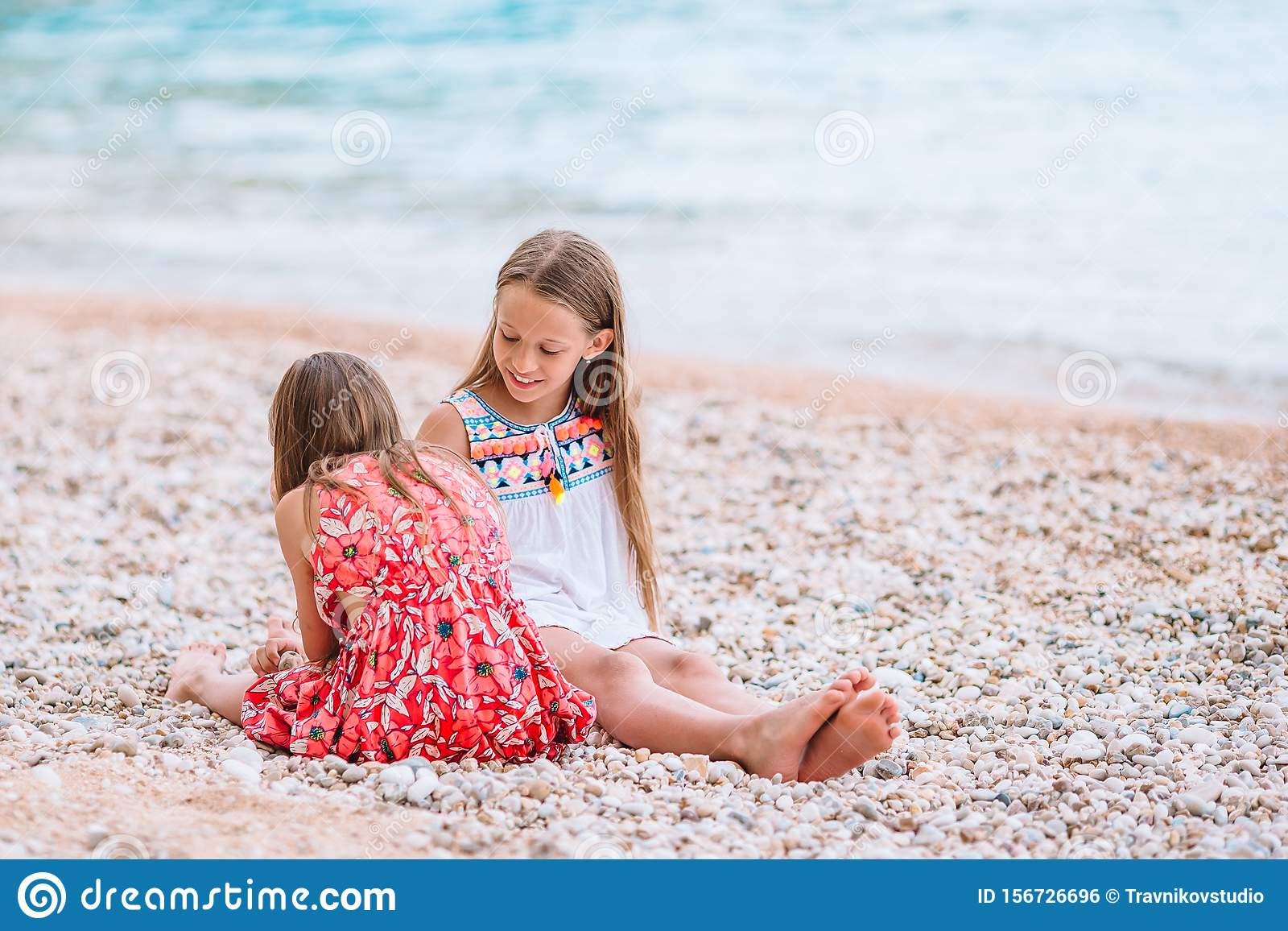 Two Little Girls At Tropical Beach In Philippines Stock