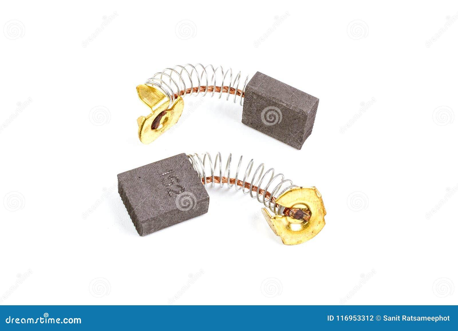 Zwei Kohlebürsten für den elektrischen Ersatz-Motor lokalisiert auf wh