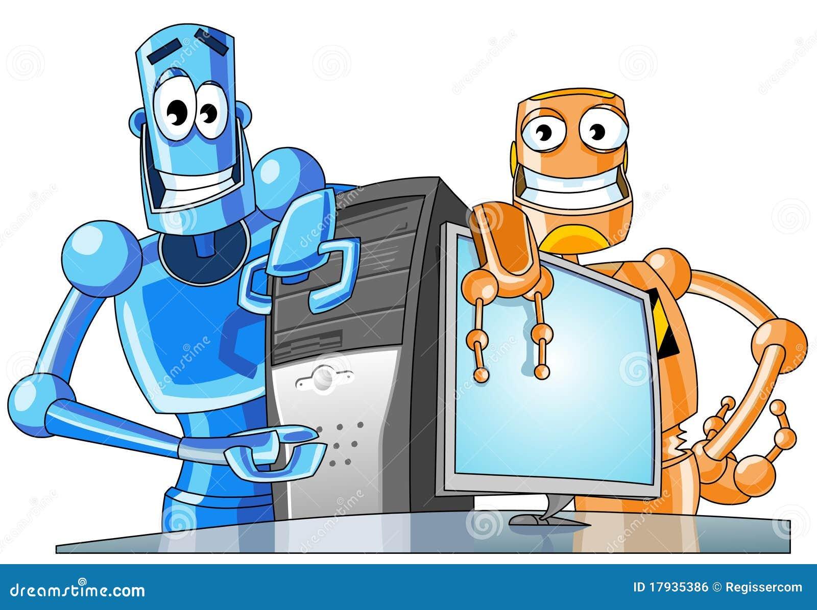 zwei lustige roboter mit einem computer lizenzfreies. Black Bedroom Furniture Sets. Home Design Ideas