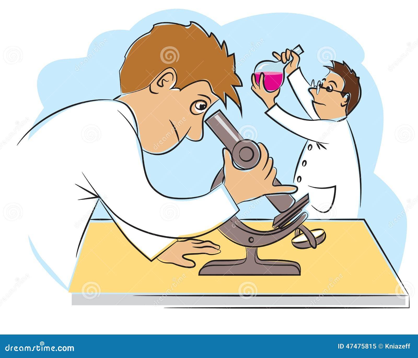 Zwei Lustige Wissenschaftler Bei Der Forschungsarbeit ...