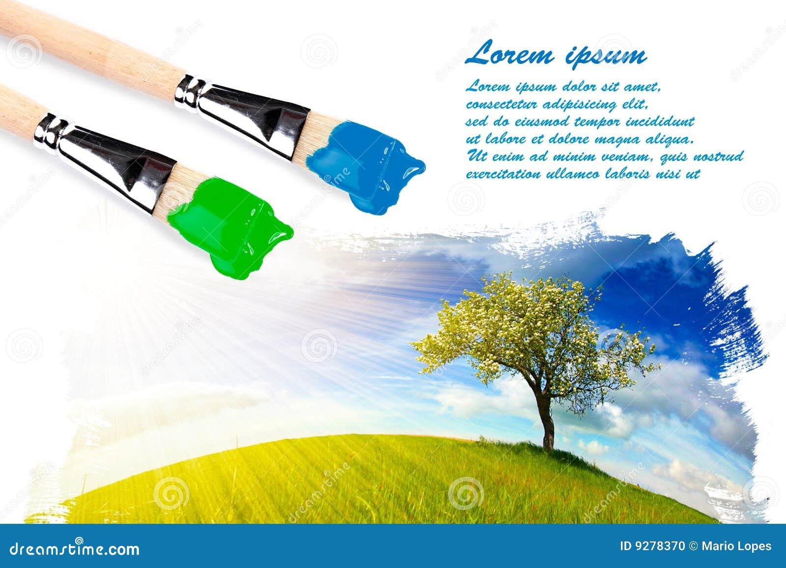 Zwei Malerpinsel und ein Landschaftsanstrich
