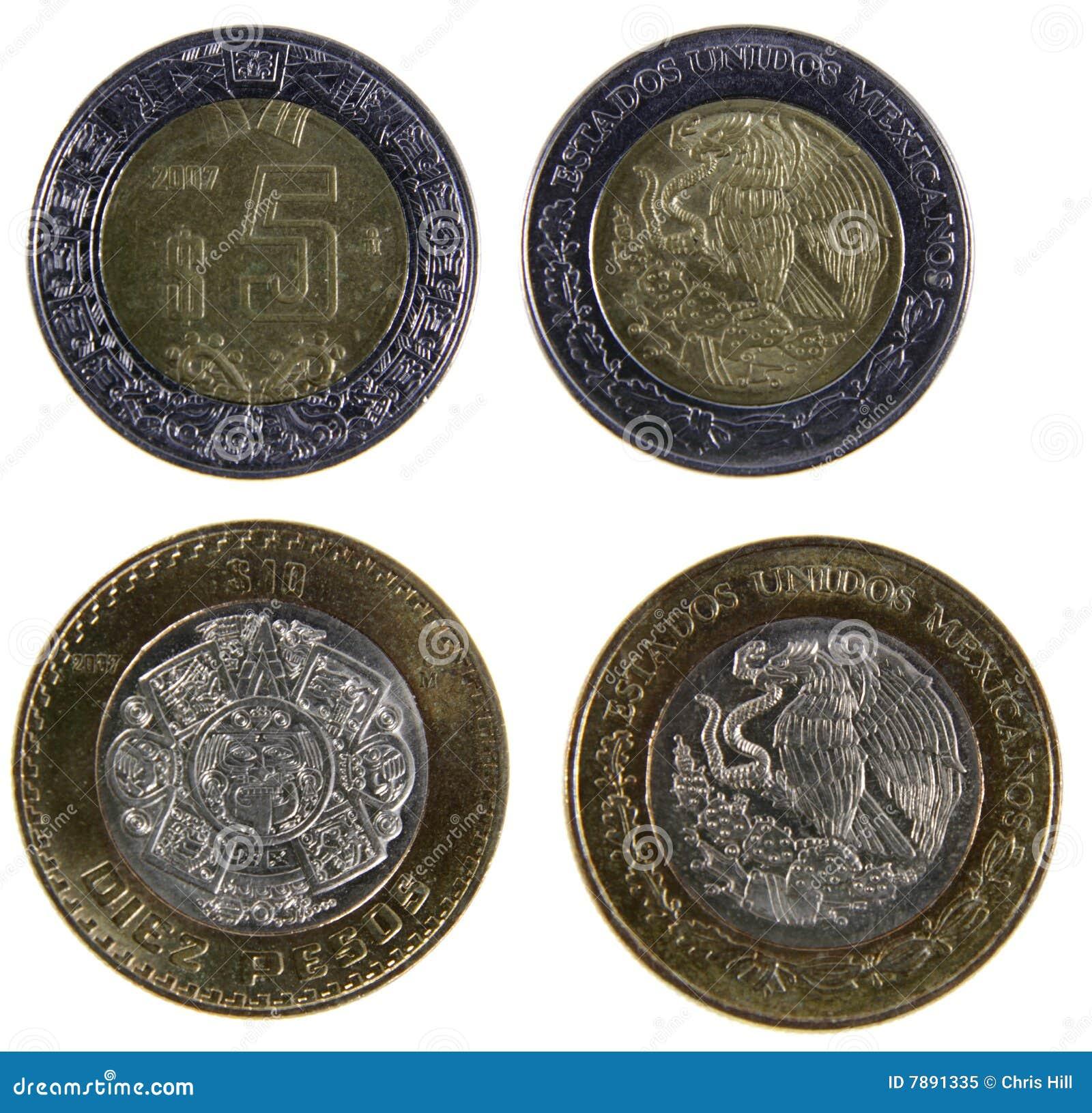 Zwei mexikanischer Peso-Münzen