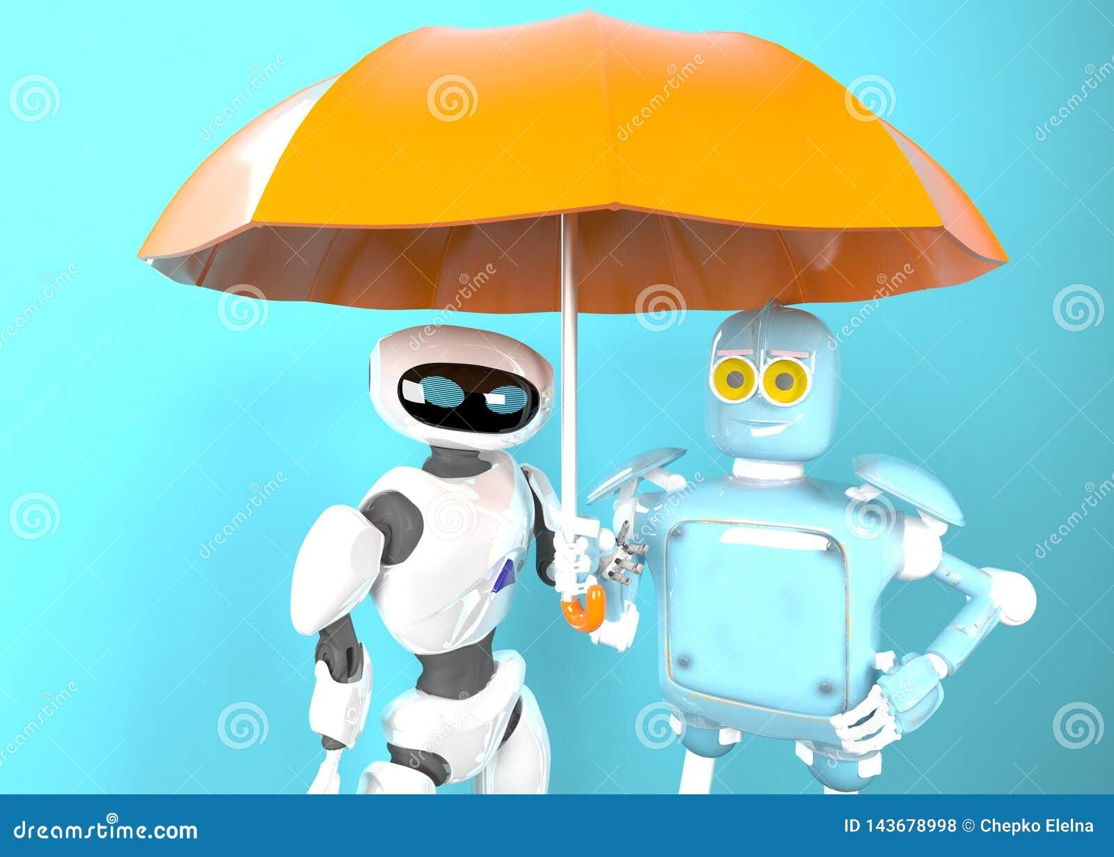 Zwei mit Regenschirm, 3d übertragen