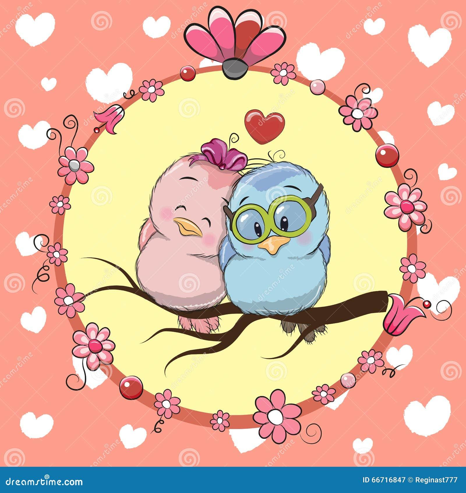 Zwei nette Karikatur-Vögel
