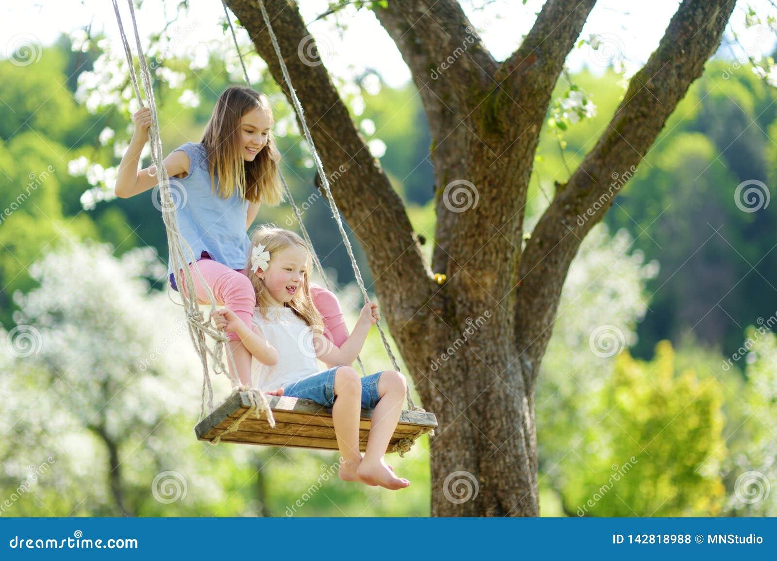 Zwei nette Schwestern, die Spaß auf einem Schwingen in blühendem altem Apfelbaumgarten draußen am sonnigen Frühlingstag haben
