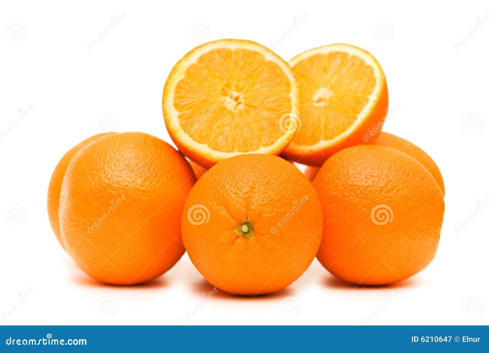 Zwei Orangen getrennt