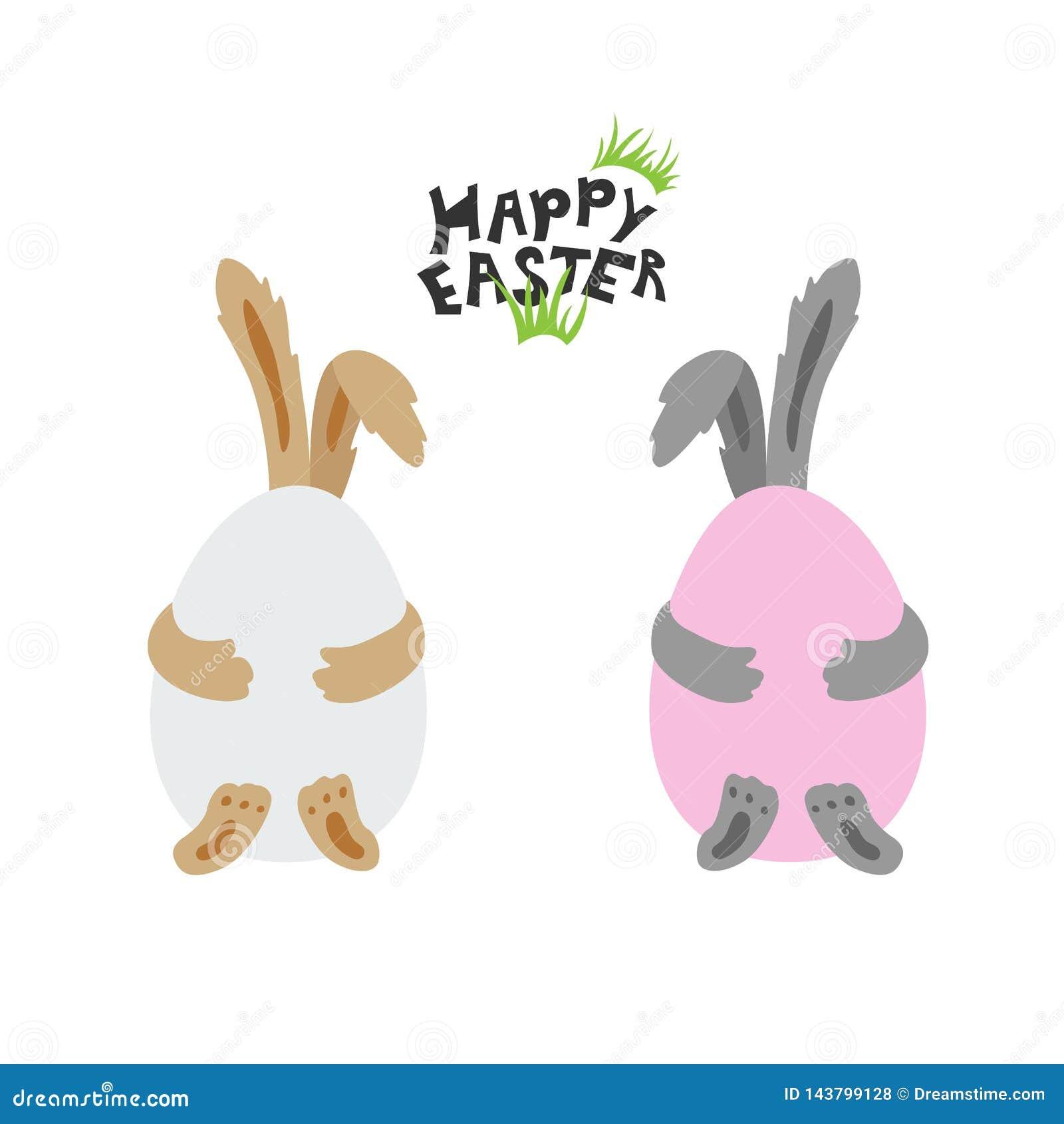 Zwei Ostern-Kaninchen verstecken sich hinter bunten Eiern