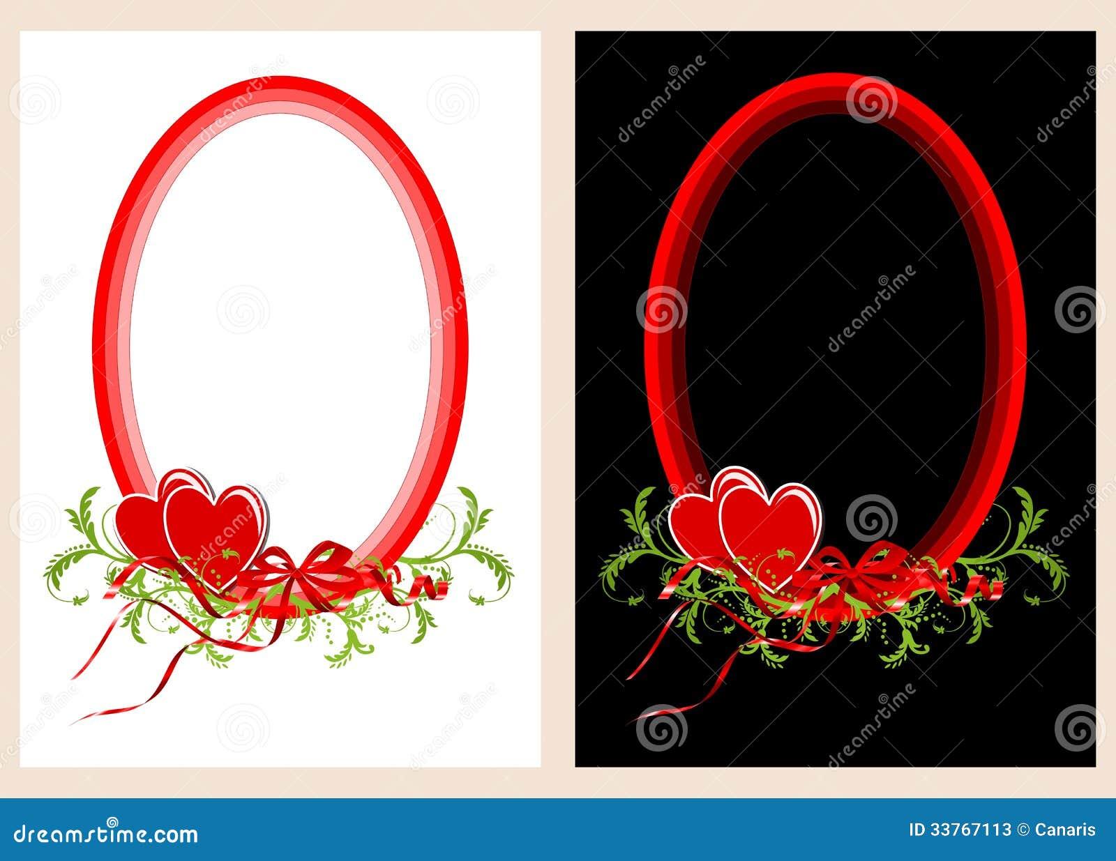 zwei ovale rahmen mit herzen stock abbildung bild 33767113. Black Bedroom Furniture Sets. Home Design Ideas
