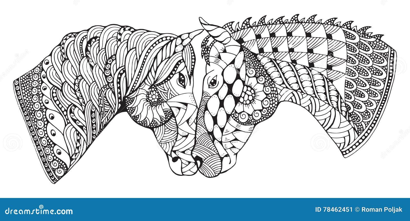 Zwei Pferde Die Neigung Zeigen Zentangle Stilisierten
