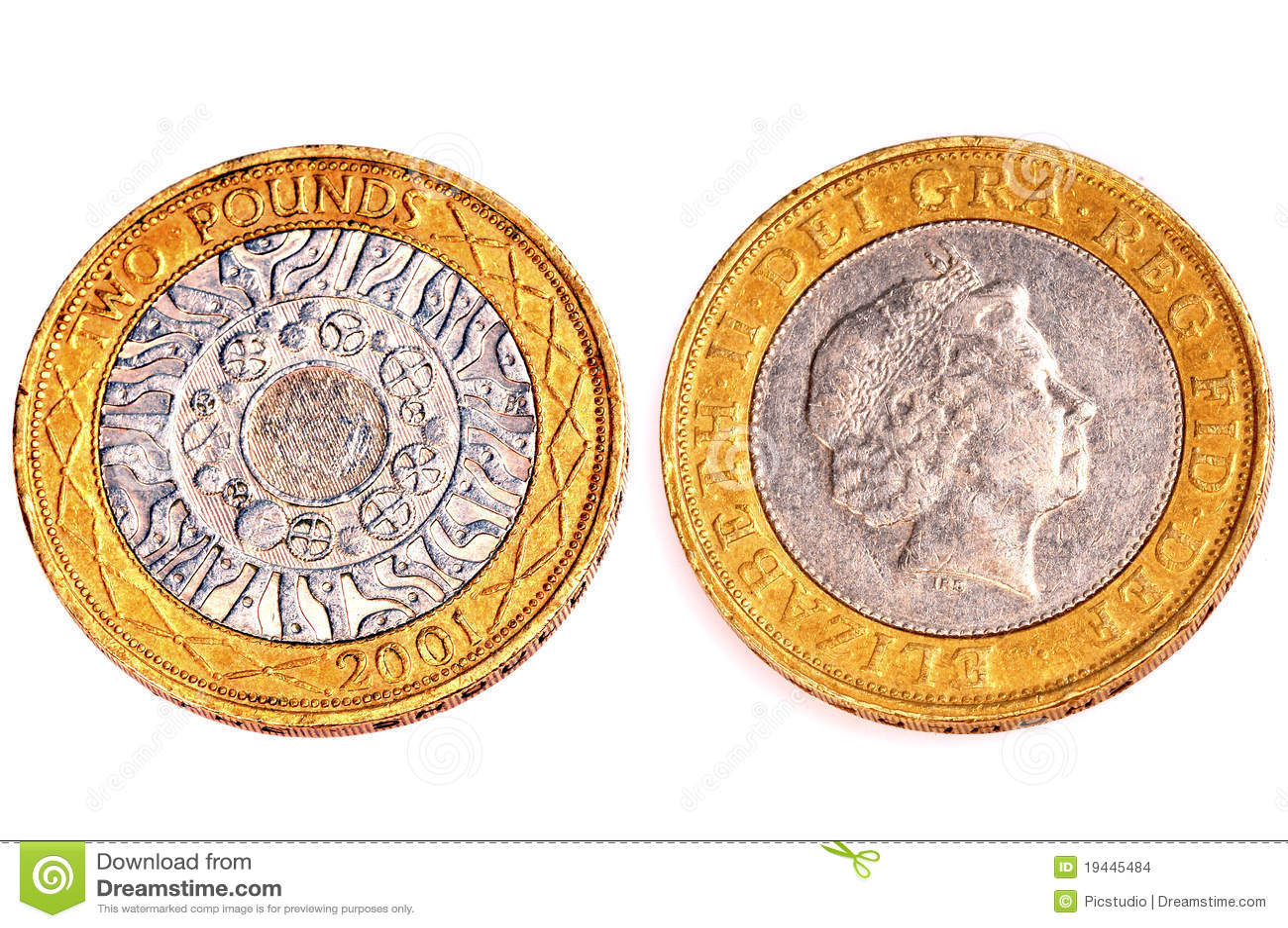 Zwei Pfund Münzen Stockfoto Bild Von Investition Oberfläche 19445484