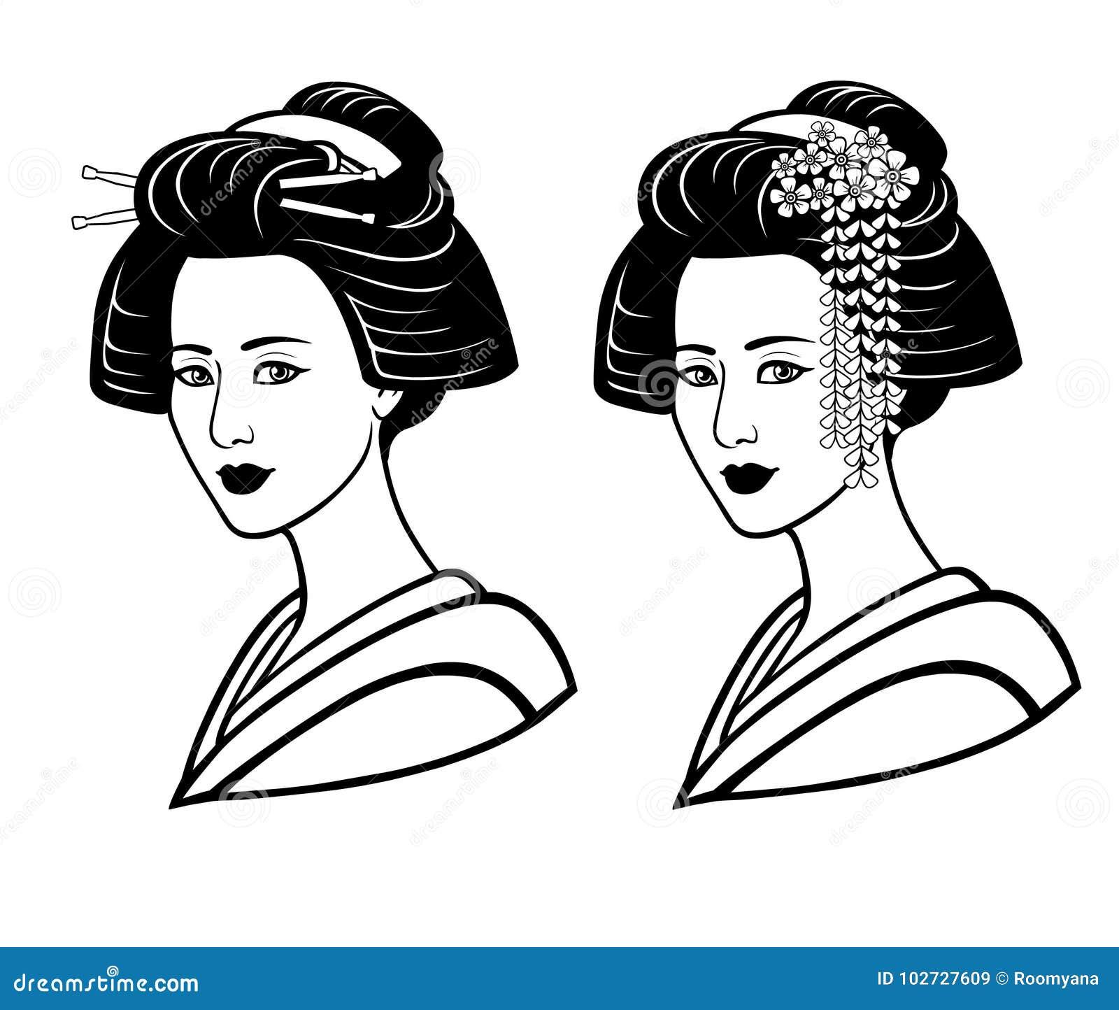 Zwei Portrats Des Jungen Japanischen Madchens Eine Alte Frisur
