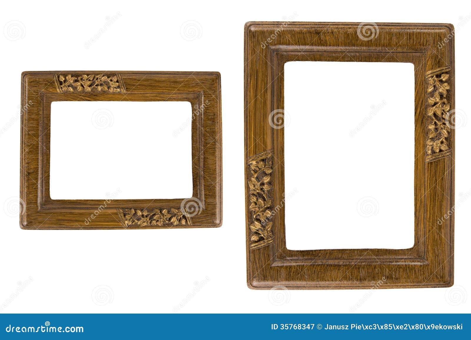 Zwei Retro- Fotorahmen stockbild. Bild von geschnitzt - 35768347