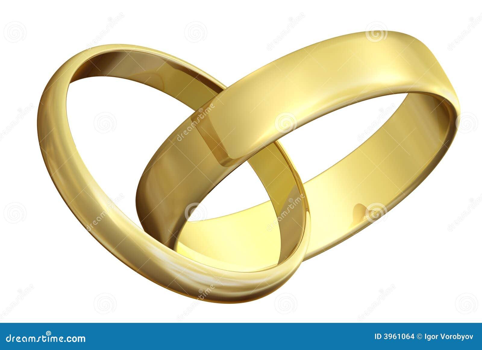 Zwei Ringe Der Goldenen Hochzeit Stock Illustrationen Vektors