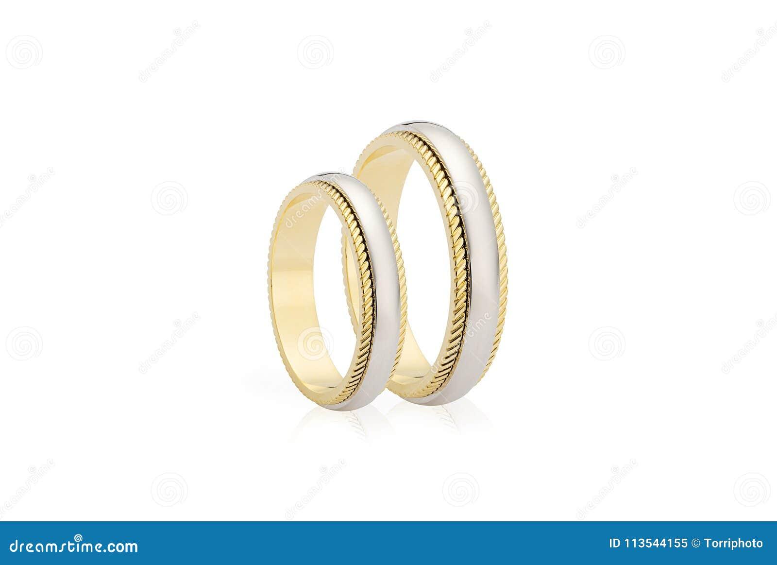Zwei Ringe Der Goldenen Hochzeit Getrennt Auf Weissem Hintergrund