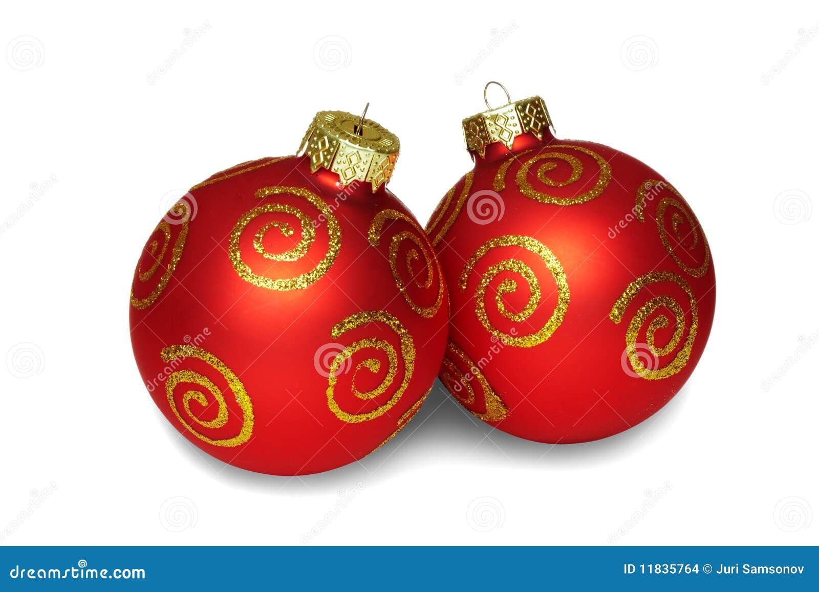 zwei rote kugeln weihnachten stockfoto bild 11835764. Black Bedroom Furniture Sets. Home Design Ideas