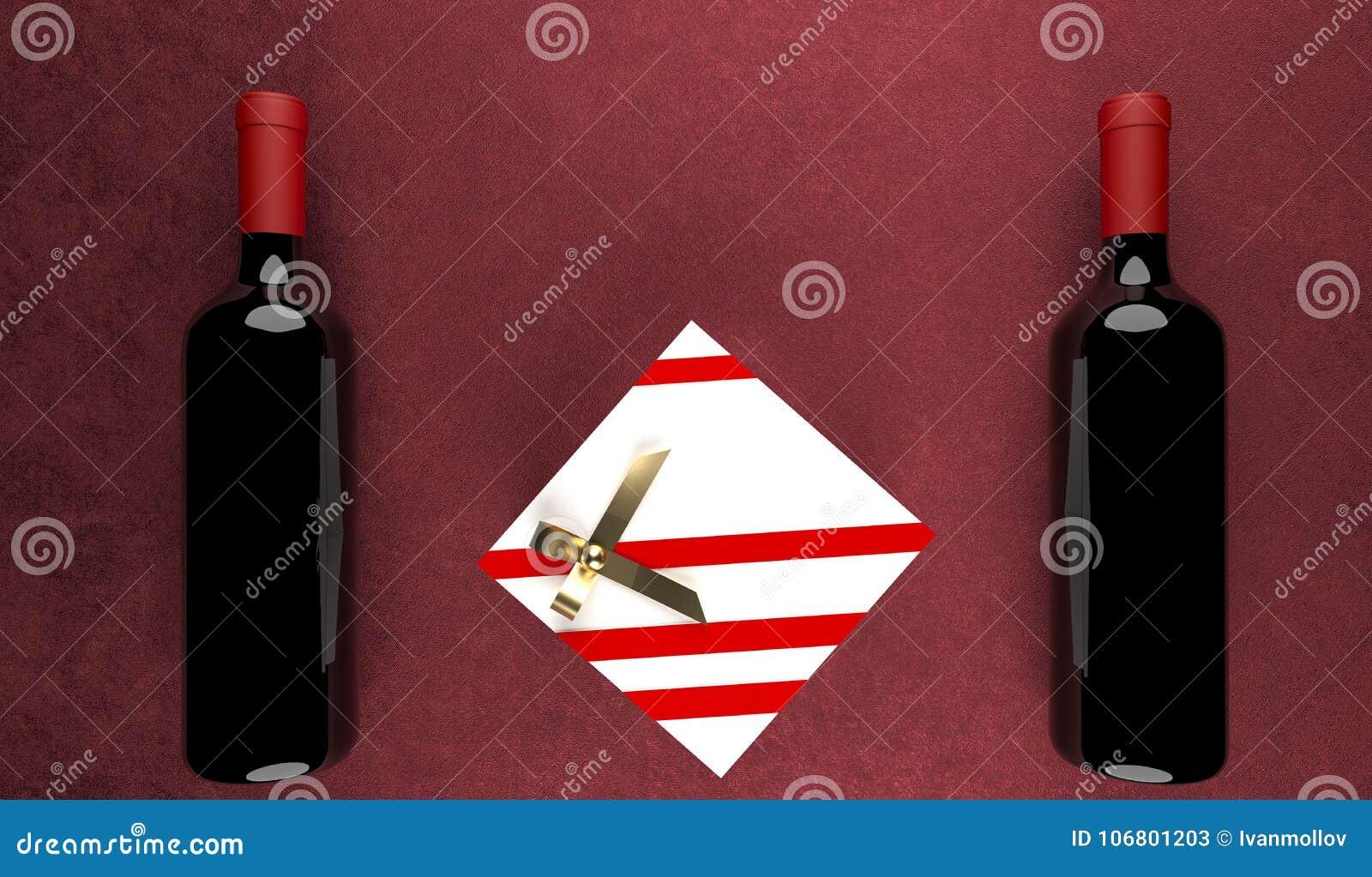 Download Zwei Rotwein-Flaschen Mit Geschenkbox In Der Mitte Stock Abbildung - Illustration von fall, nahaufnahme: 106801203