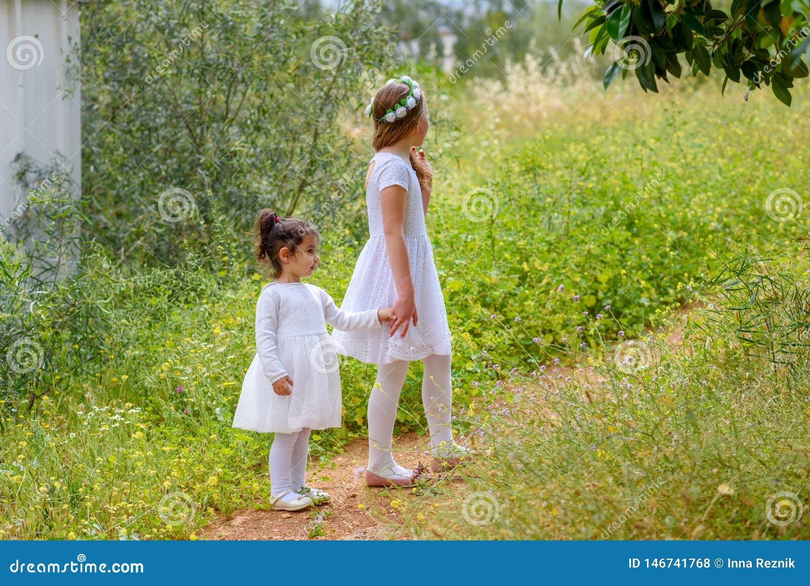 Zwei Schwestermädchen, die zusammen auf dem grünen Park im Freien spielen