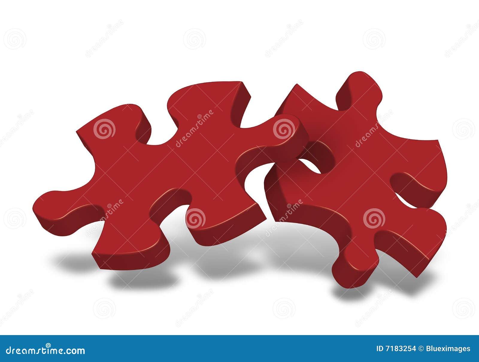 Zwei Stücke des Puzzlespiels