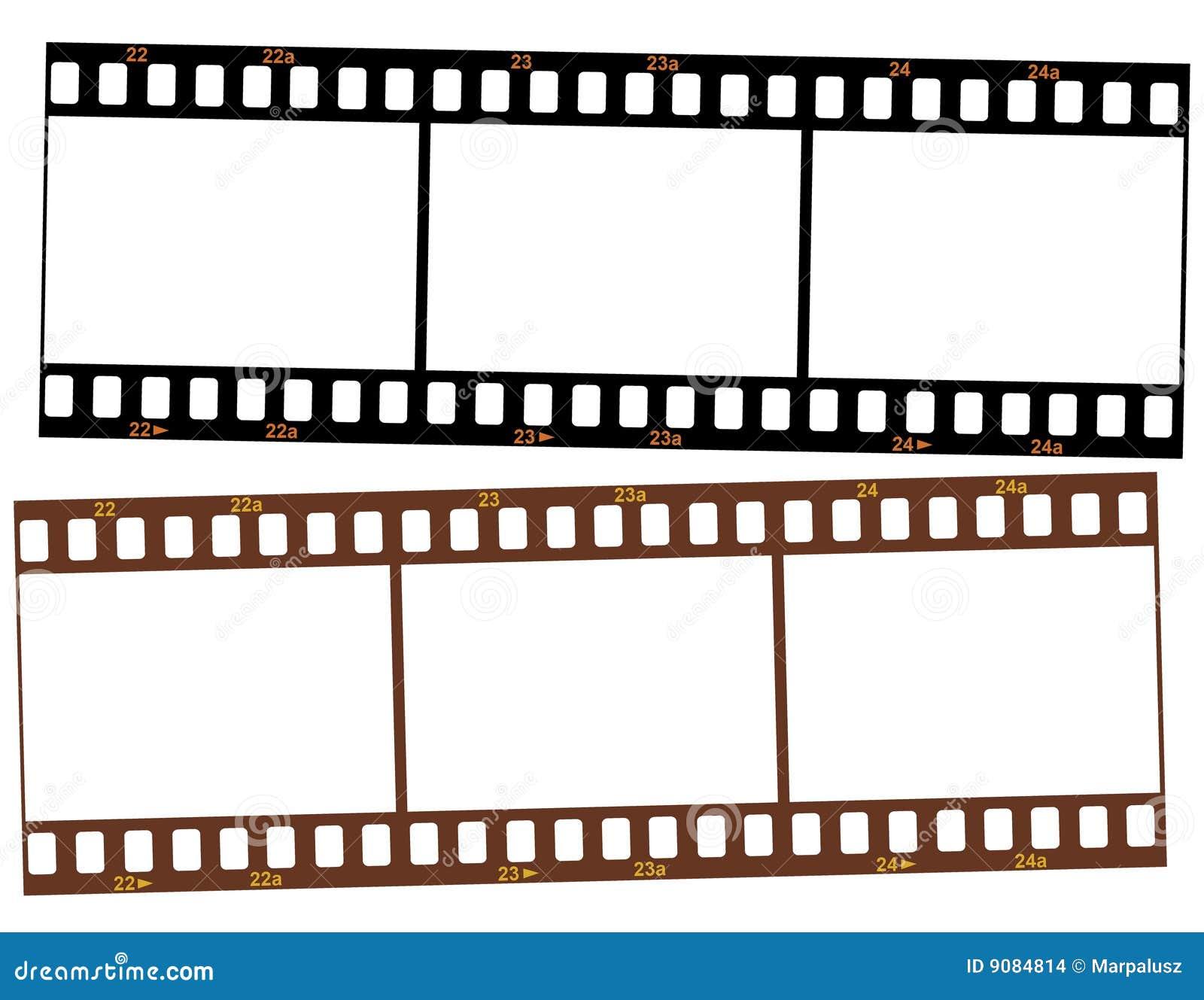 Zwei Streifen 35mm Transparentfilm