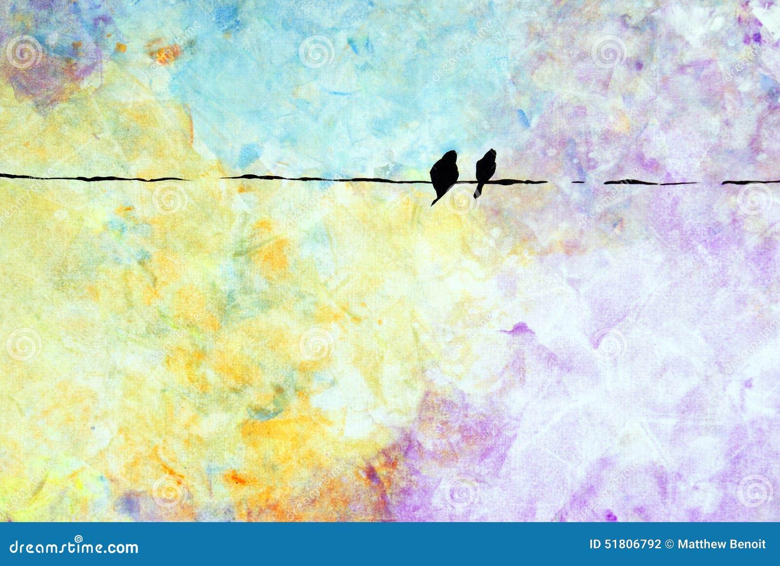 Zwei Vögel auf einem Draht stock abbildung. Illustration von vögel ...