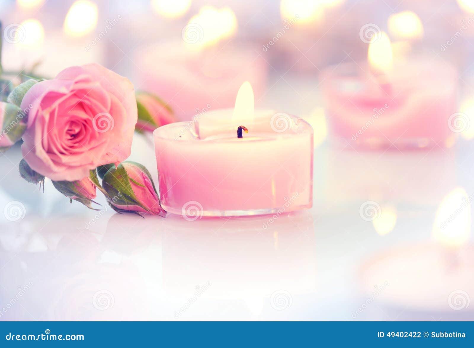 Download Zwei Verklemmte Innere Geformte Kerzen Und Rosen Des Rosa Herzens Stockfoto - Bild von liebe, datierung: 49402422