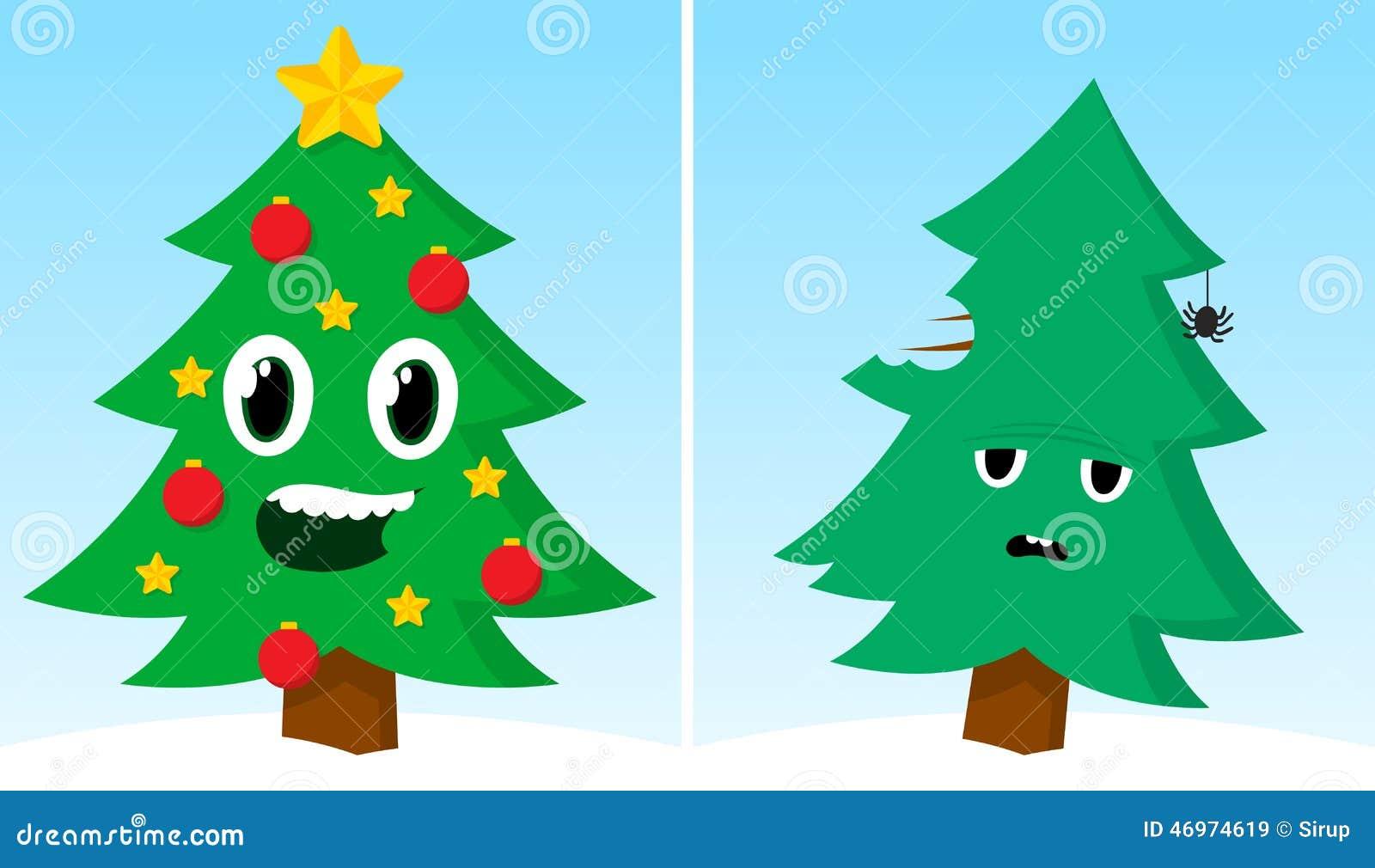 Bilder Nach Weihnachten.Zwei Weihnachtsbäume Ein Glückliches Traurig Nach Weihnachten Vektor
