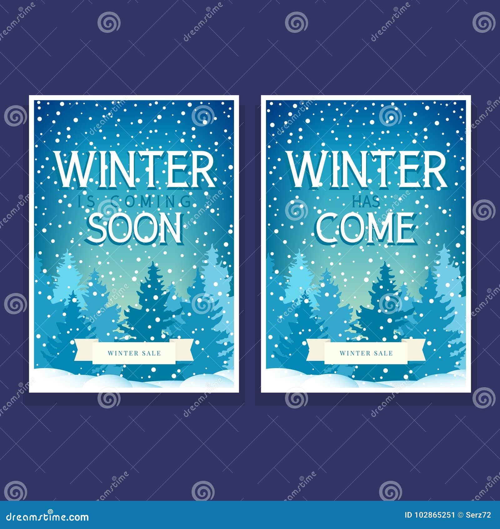 Zwei Winter-Poster Mit Fichten Vektor Abbildung - Illustration von ...