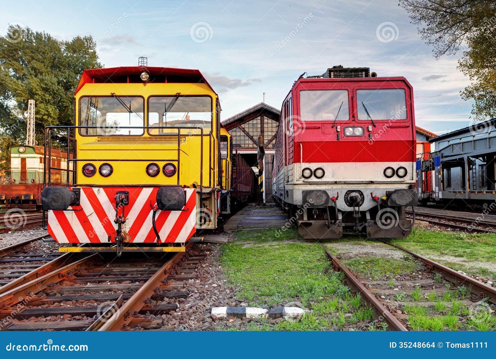Zwei Züge im Depot