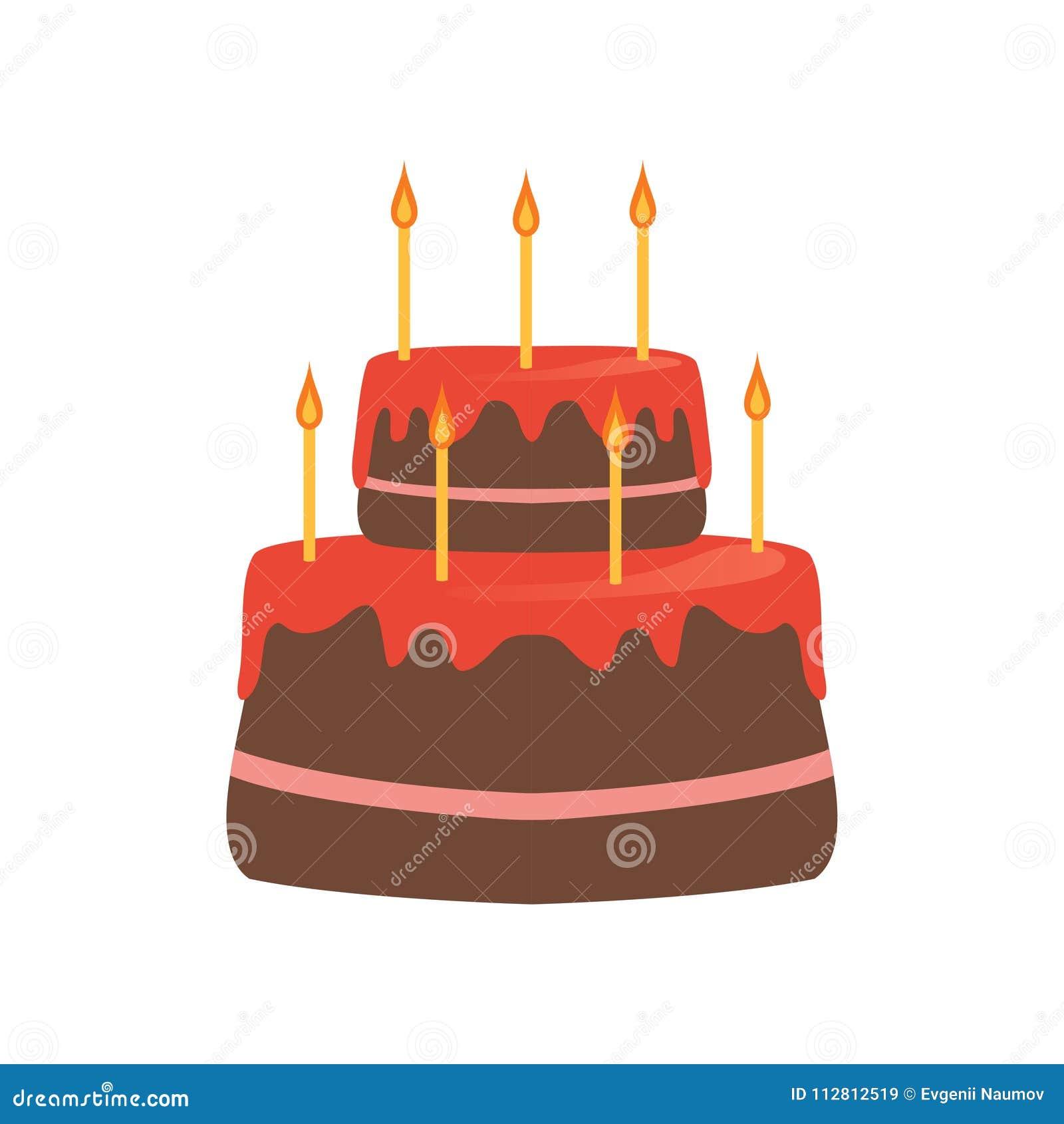 Zweistufenkuchen Mit Roter Glasur Und Sieben Brennenden Kerzen