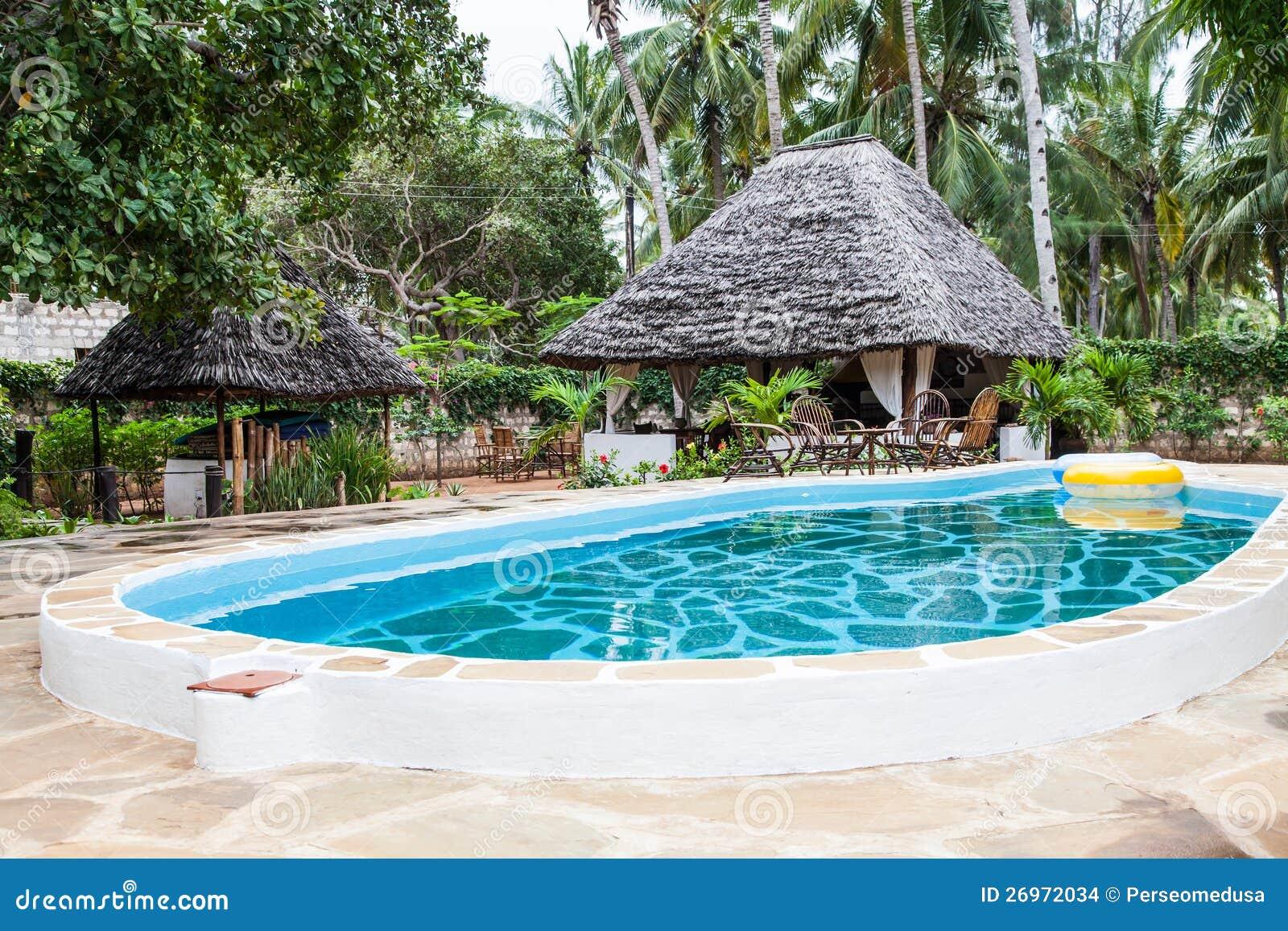Zwembad in afrikaanse tuin stock afbeeldingen afbeelding 26972034 - Deco van de tuin ...