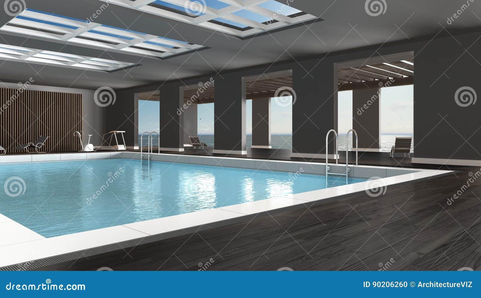 Zwembad binnenlands ontwerp binnen met groot panoramisch venster