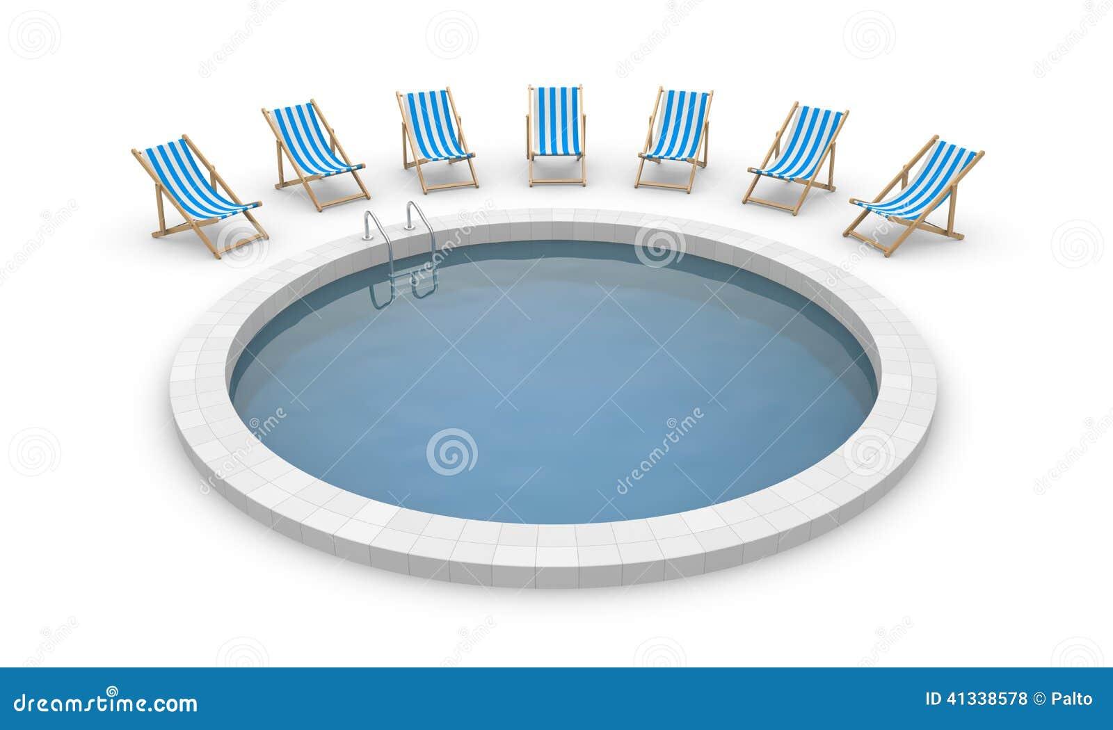 Zwembad en ligstoelen stock illustratie afbeelding bestaande uit trap 41338578 - Ligstoelen en merisier ...