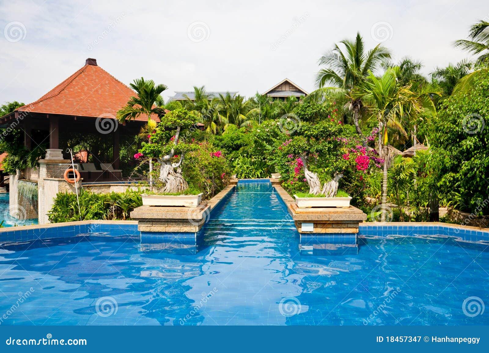 Zwembad in tropische tuin royalty vrije stock fotografie afbeelding 18457347 - Tuin decoratie buitenkant ...