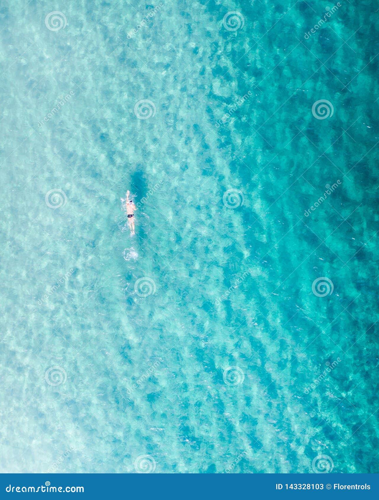 Zwemmer in het blauwe water bij zonsopgang