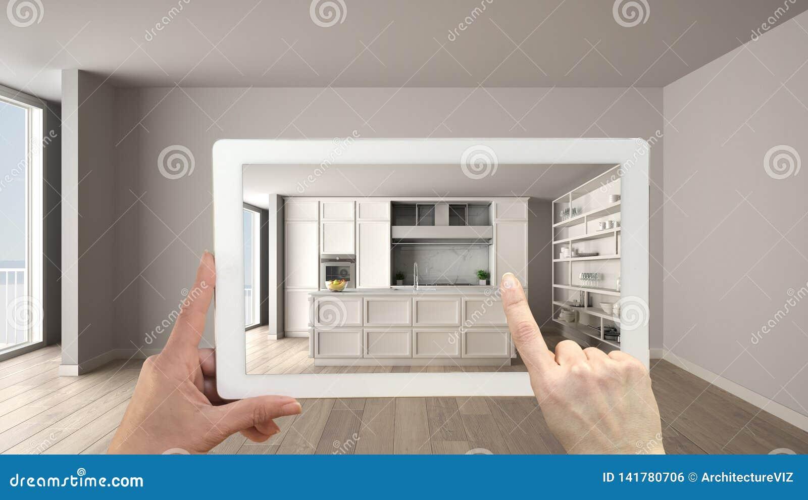 Zwiększający rzeczywistości pojęcie Wręcza mienie pastylkę z AR zastosowaniem używać symulować meble i projektować produkty w pus