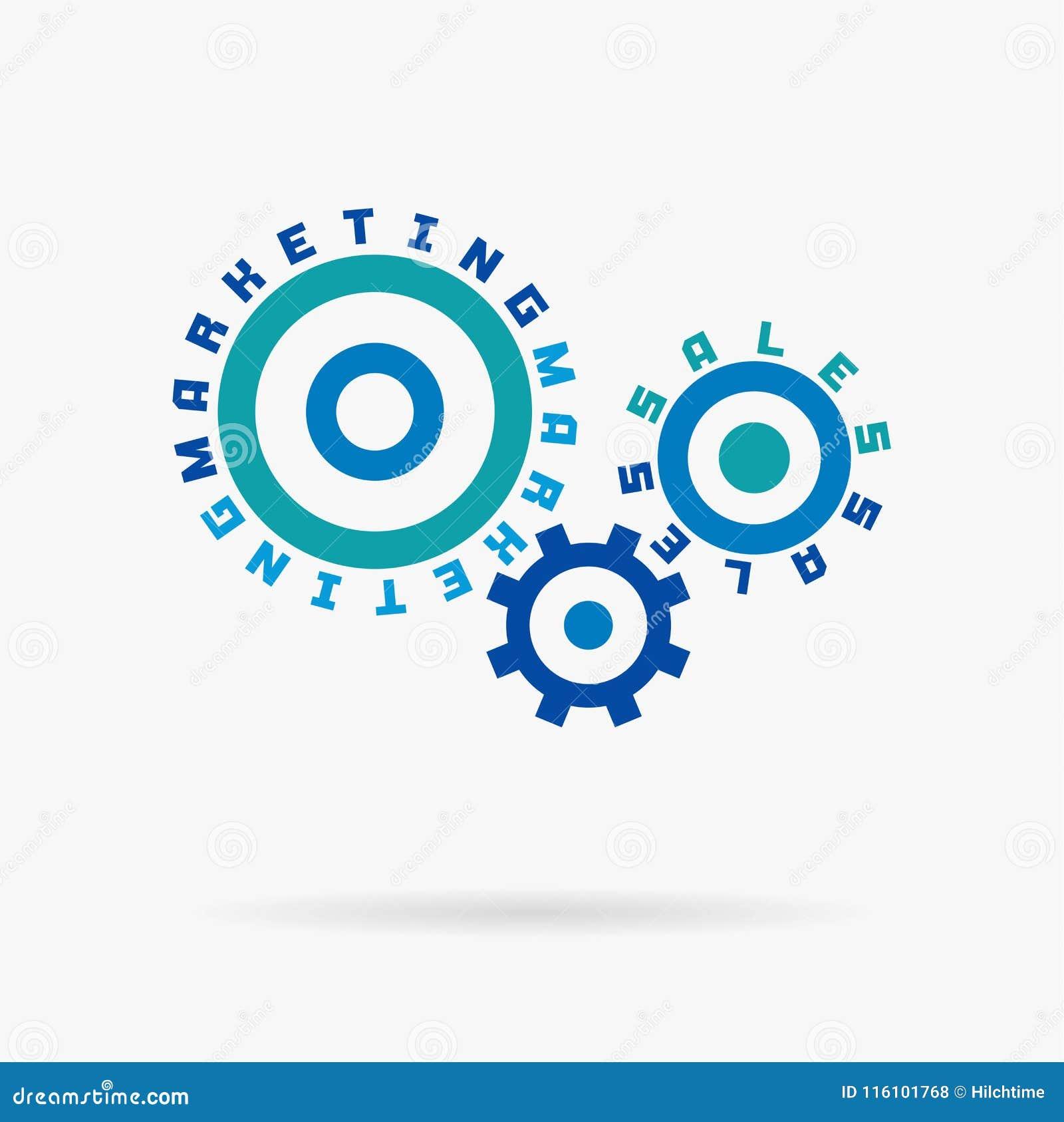 Związani cogwheels, marketingowi sprzedaży słowa Zintegrowane przekładnie, tekst Ogólnospołeczny medialny biznes, internet rozwij