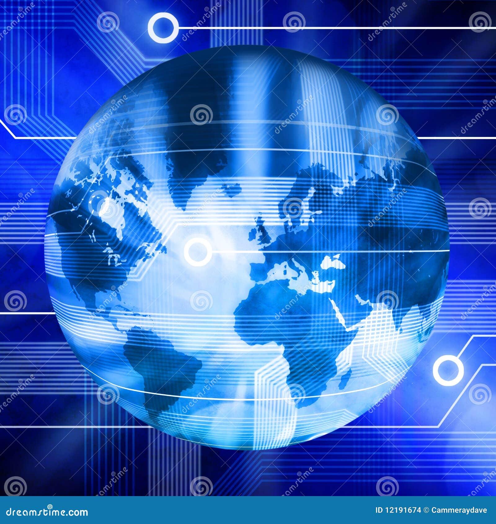 Związany kuli ziemskiej technologii świat