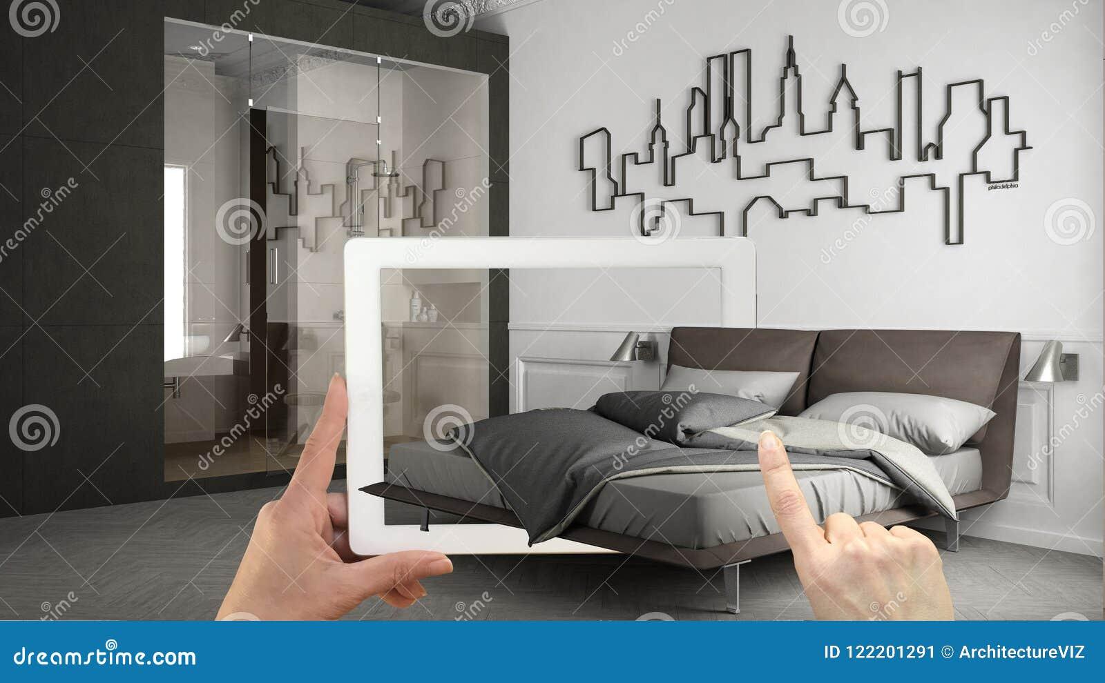 Zwiększający rzeczywistości pojęcie Wręcza mienie pastylkę z AR zastosowaniem używać symulować meblarskiego i wewnętrznego projek