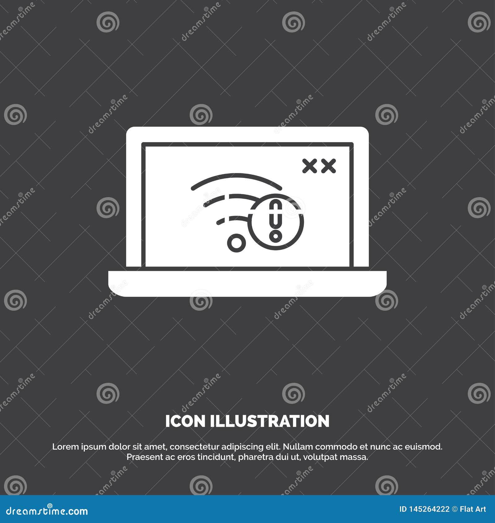 Zwi?zek, b??d, internet, gubj?cy, internet ikona glifu wektorowy symbol dla UI, UX, strona internetowa i wisz?cej ozdoby zastosow