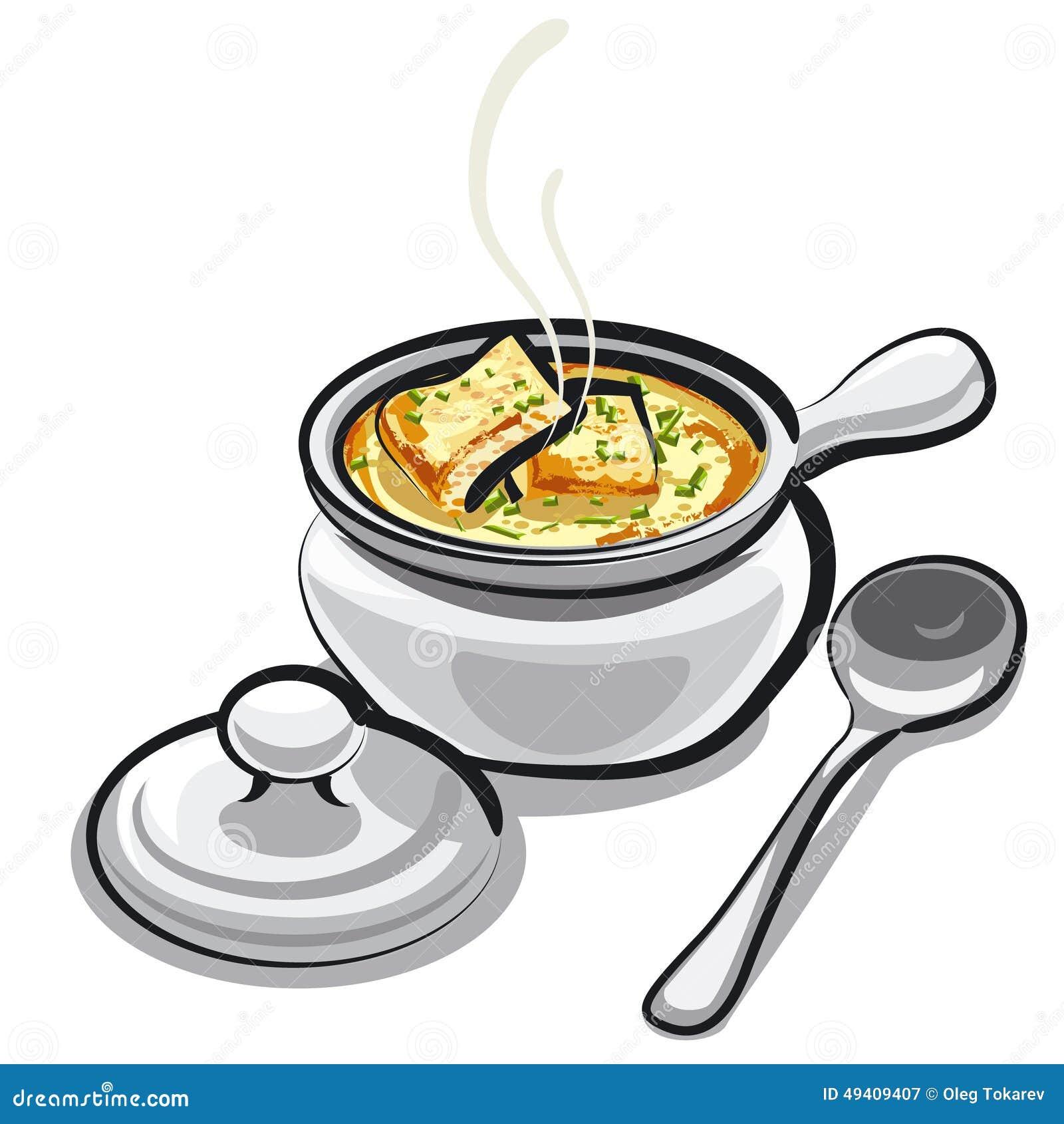 Download Zwiebelsuppe stock abbildung. Illustration von feinschmecker - 49409407