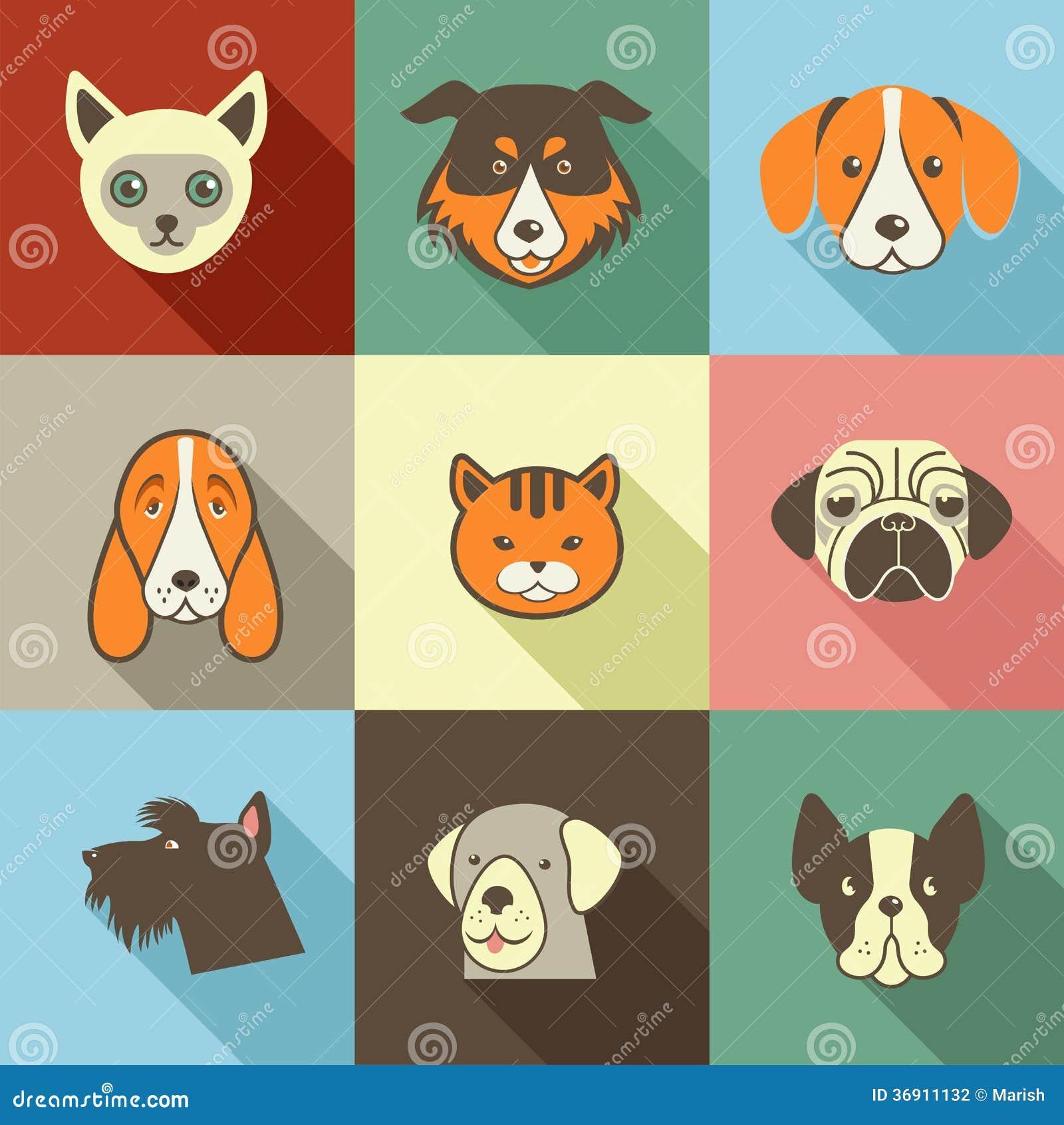 Zwierzę domowe ikony - kotów i psów elementy