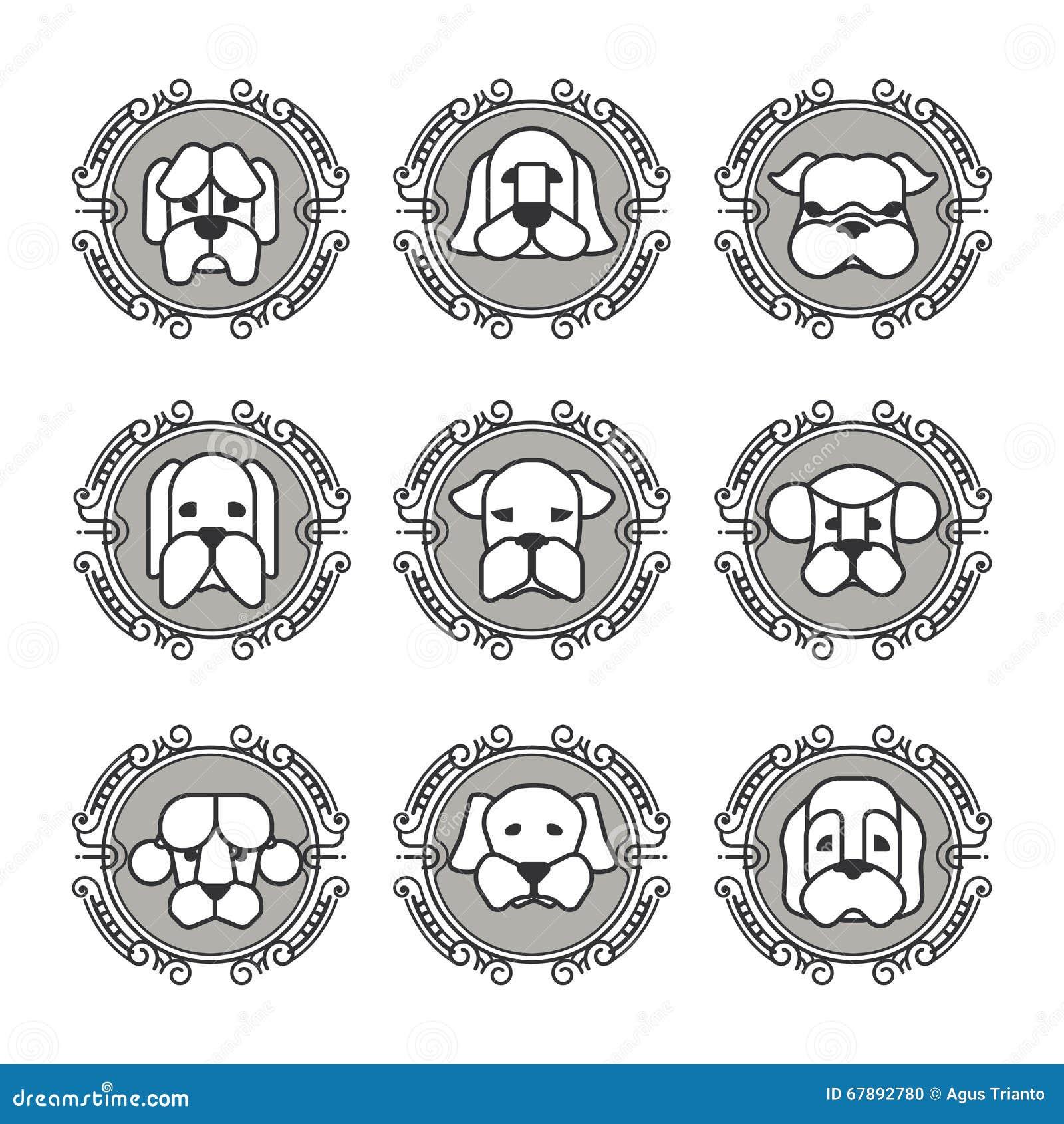 Zwierzę domowe wektorowe ikony - psów elementy