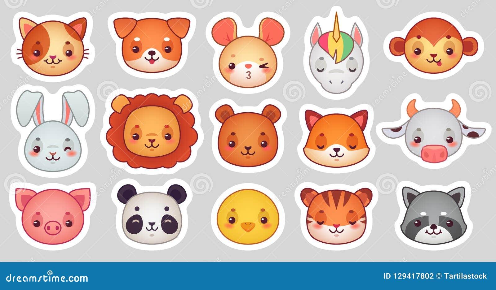 Zwierzę twarzy majchery Śliczne zwierzęce twarze, kawaii emoji śmieszny majcher lub avatar, Kreskówki ilustraci wektorowy set