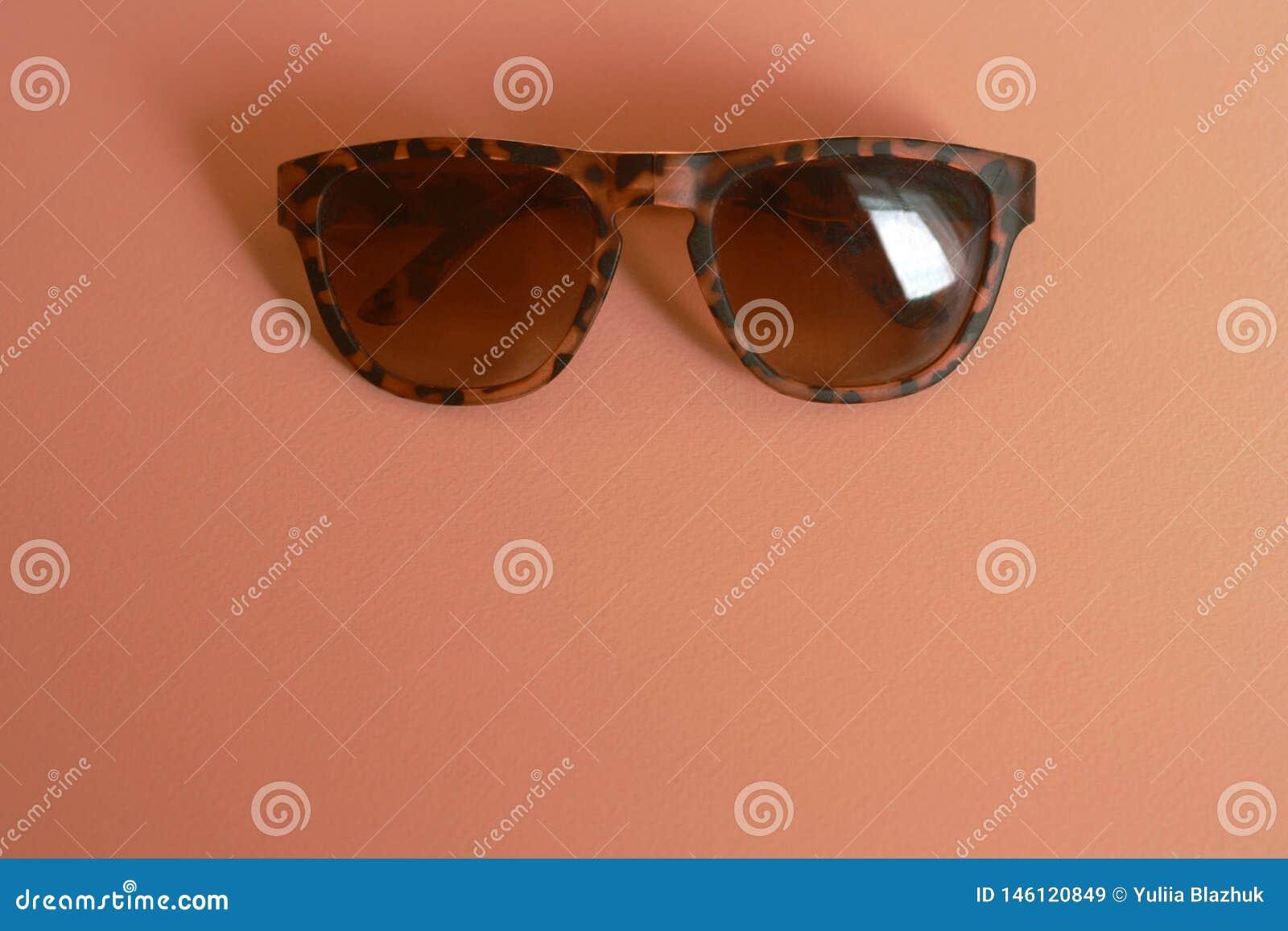 Zwierzęcy druków okulary przeciwsłoneczni w koralowym żółtym tle