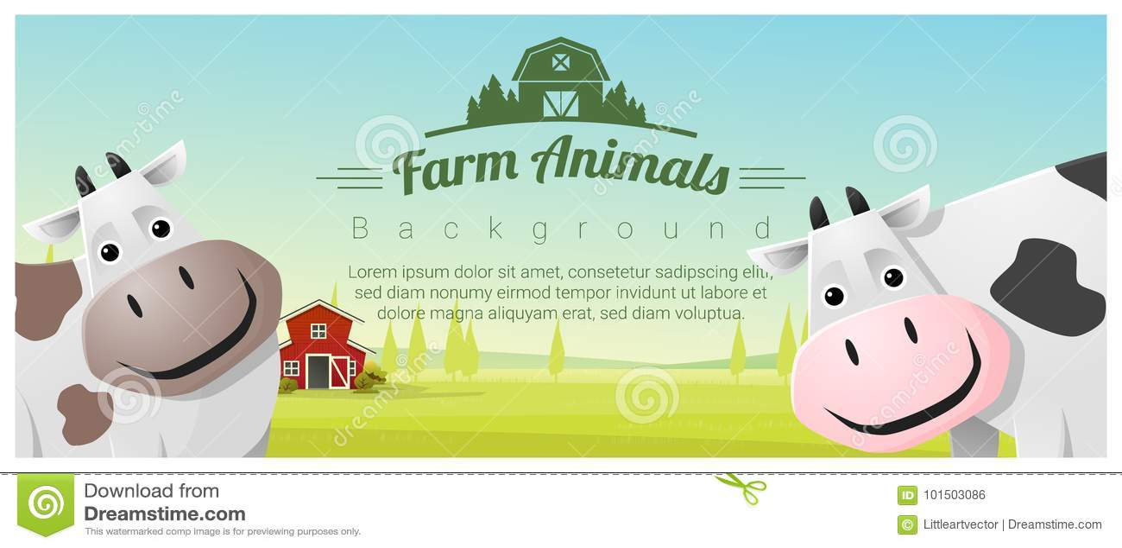 Zwierzęta gospodarskie i Wiejski krajobrazowy tło z krowami