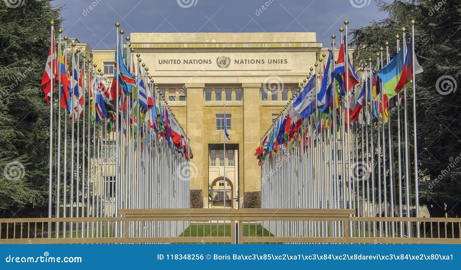 Zwitserland; Genève; 9 maart, 2018; De rijen van Verenigde Natio