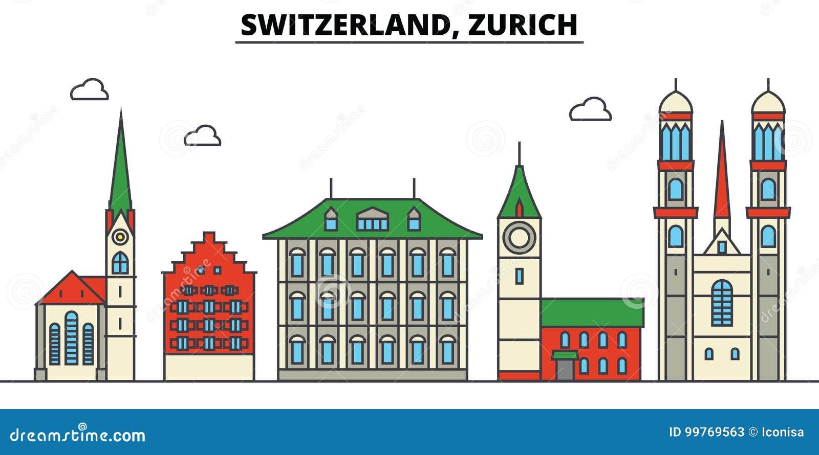 Zwitserland, Zürich De architectuur van de stadshorizon editable